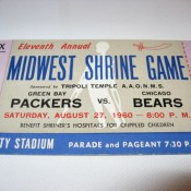 1960 Packers Bears Shrine Game Full Ticket