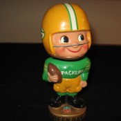 Green Bay Packers Gold Base Bobblehead Doll Scarce Toes Up Example