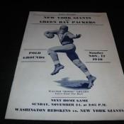 1940 New York Giants Green Bay Packers Game Program November 17
