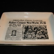 Green Bay Press Gazette Sports Page Pottery Tray Super Bowl One Win