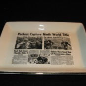 Green Bay Press Gazette Sports Page Headline Pottery Tray 9th World Title 1965