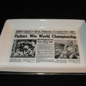 Green Bay Press Gazette Sports Page Pottery Tray Packers World Champs Headline