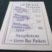 1932 Green Bay Packers Staten Island Stapletons Game Program