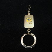 Vintage Green Bay Packers Keychain With Single Bar Helmet Fob