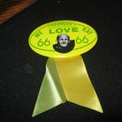 "Green Bay Packers ""We Love Ray"" Nitschke Button With Ribbon"