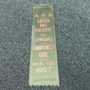 1966 NFL Championship Packers Vs. Cowboys Cotton Bowl Ribbon