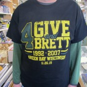 Forgive & For Brett Green Bay Packers Favre Jersey Retirement Game T-Shirt