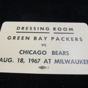 1967 Dressing Room Pass 8-18-1967 Green Bay vs. Chicago Bears
