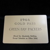 "1966 Green Bay Packers ""Gold Pass"" Comical Season Schedule"