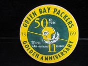 Green Bay Packers 1969 50th Year Golden Anniversary Large Sticker Unused