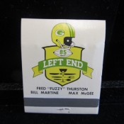 Fuzzy Thurston Max McGee Left Guard Left End Restaurant Matchbook Unused