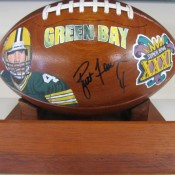 Brett Favre Autographed Hand Painted Hard Wood Football With JSA Authentification