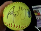 Aaron Rodgers Autographed Softball From Charity Softball Game