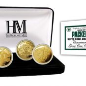 Green Bay Packers 4-time Super Bowl Champions Gold Game Coin Set