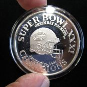 Super Bowl 31 Green Bay Packers Champions .999 One Ounce Silver Coin