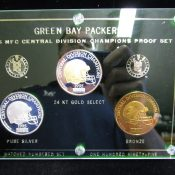 1995 Green Bay Packers NFC Central Division Champs 3 Coin Proof Set