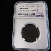 1793 United States Large Cent Chain Reverse NGC Fine Details