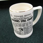 1968 Green Bay Packers Milwaukee Sentinel Super Bowl II Pottery Mug