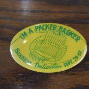 1957 Green Bay Packers Lambeau Field City Stadium Dedication Pinback Button