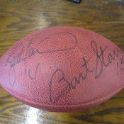 Green Bay Packers Brett Favre Bart Starr Dual Autographed Wilson Football JSA