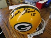 Green Bay Packers Bart Starr Autographed 2 Bar Mini Helmet Tristar