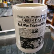 "Vintage 1961 Green Bay Packers ""Sports Page"" Pottery Beer Mug"