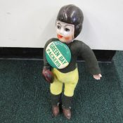 Vintage 1940s Souvenir Football Player Doll With Green Bay Packers Pin