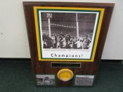 Green Bay Packers 1961 NFL Champion Plaque With Piece Of Actual Goal Post
