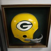Vintage Square Shadow Box Green Bay Packers Helmet Plaque