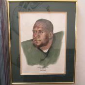 Scarce Original Sweetland Hand Colored Green Bay Packers Willie Davis Artwork