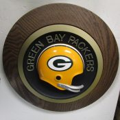 Vintage Green Bay Packers Round Frame Helmet Plaque