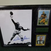 Bart Starr 8×10 Autographed Photo With Football Cards On Plaque