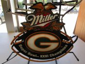 Scarce Miller Lite Beer Green Bay Packers Super Bowl 31 Champs Neon Bar Sign