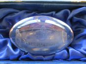 Scarce Pro Football Hall Of Fame 2015 Ron Wolf Induction Crystal Football