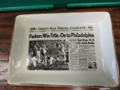 "1960 Green Bay Packers ""Sports Page"" Pottery Tray ""On To Philadelphia"""