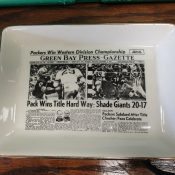 "1961 Green Bay Packers ""Sports Page"" Pottery Tray Western Division Champs"