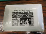 """1962 Green Bay Packers """"Sports Page"""" Pottery Tray World Champs"""
