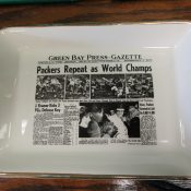 "1962 Green Bay Packers ""Sports Page"" Pottery Tray World Champs"