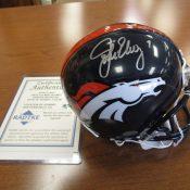 Denver Broncos John Elway Autographed Mini Helmet Radtke COA