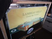 Large Green Bay Packer Lambeau Field Miller Beer Framed Mirror