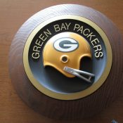 Vintage 1970s Green Bay Packers Round Helmet Plaque