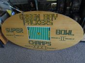 Large Solid Wood Hand Made Green Bay Packers Super Bowl Sign