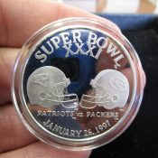 Green Bay Packers New England Patriots Super Bowl 31 One Ounce Silver Coin