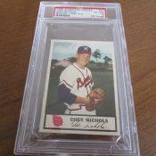 1955 Johnstons Cookies Milwaukee Braves Chet Nichols Baseball Card PSA 6