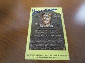 Hank Aaron Autographed Baseball Hall Of Fame Postcard JSA
