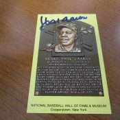 Hank Aaron Autographed Baseball Hall Of Fame Postcard JSA